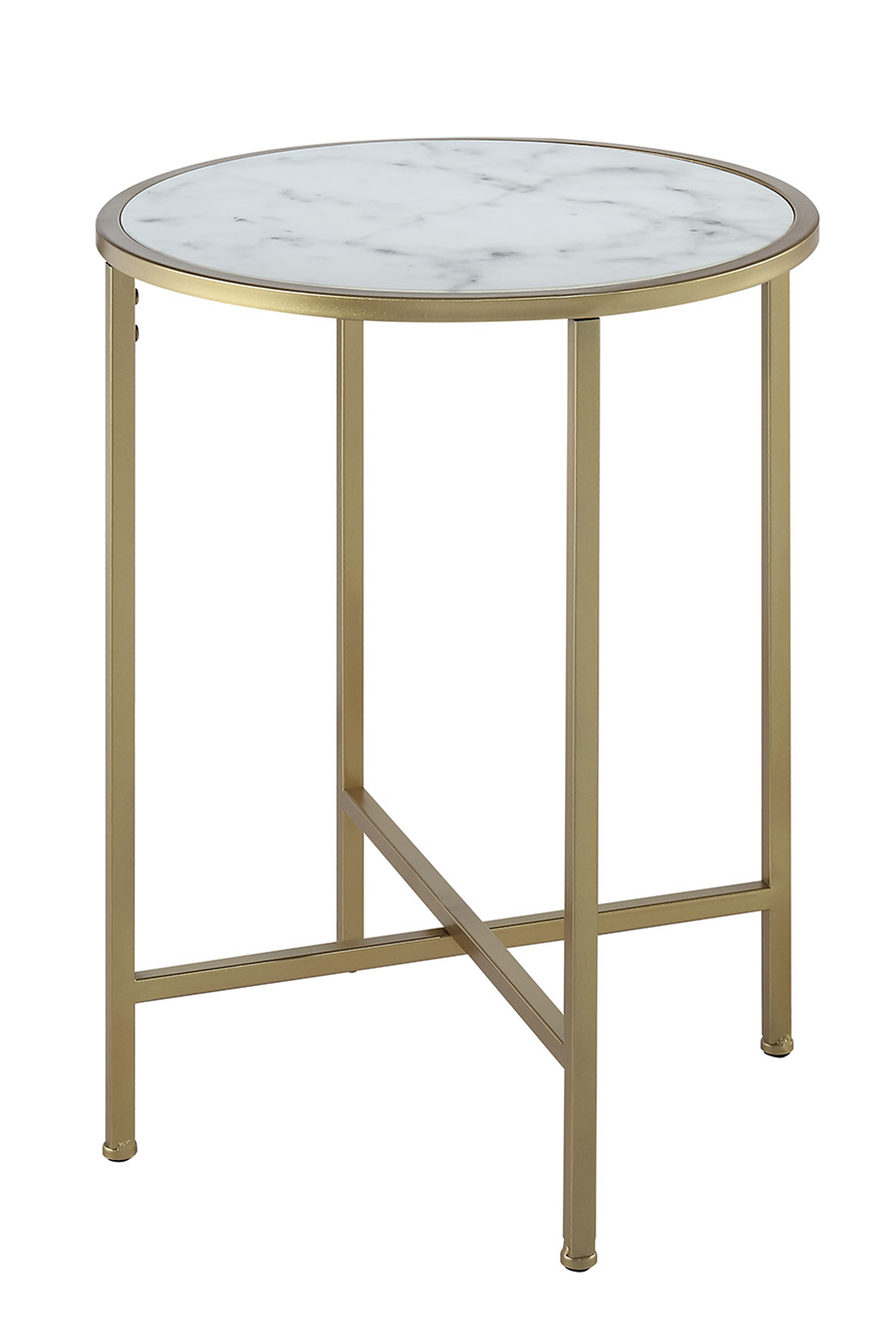 Convenience Concepts 413455M Gold Coast Faux Marble Round End Table