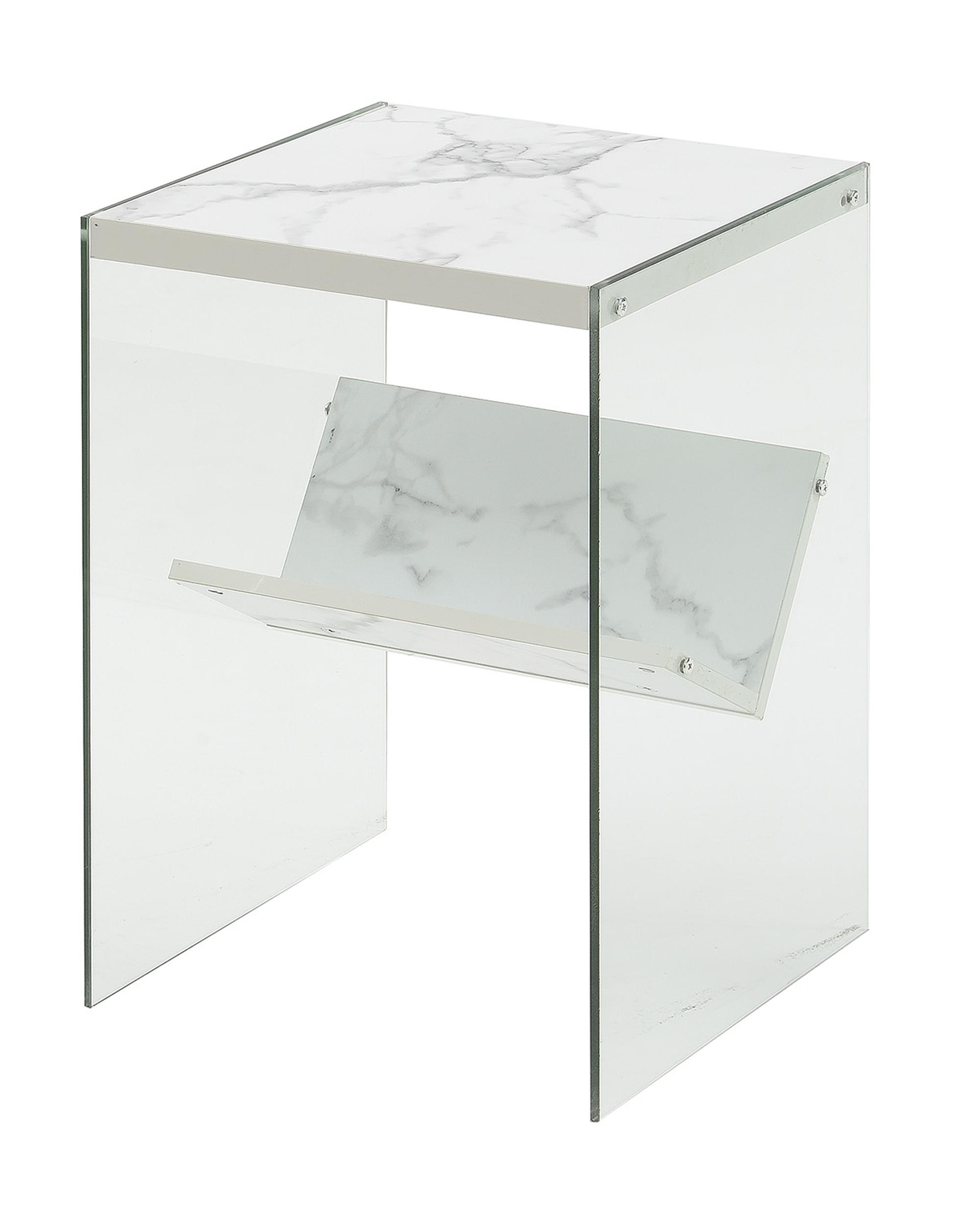 Convenience Concepts 131556WM Soho End Table, Faux White Marble