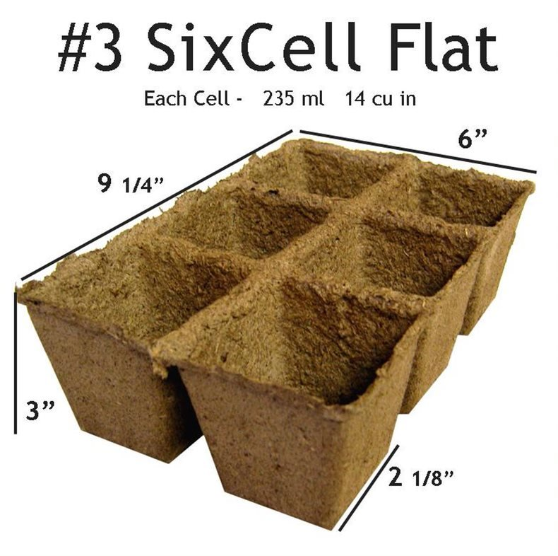 CowPots #3 SixCell tray  20 trays = 120 planting cells