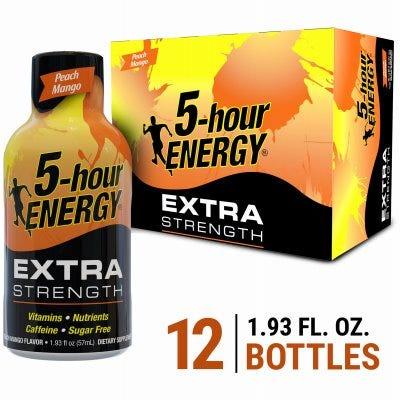 5 Hour Energy 758124 1.93 oz Extra Strength Energy Shot - Peach Mango