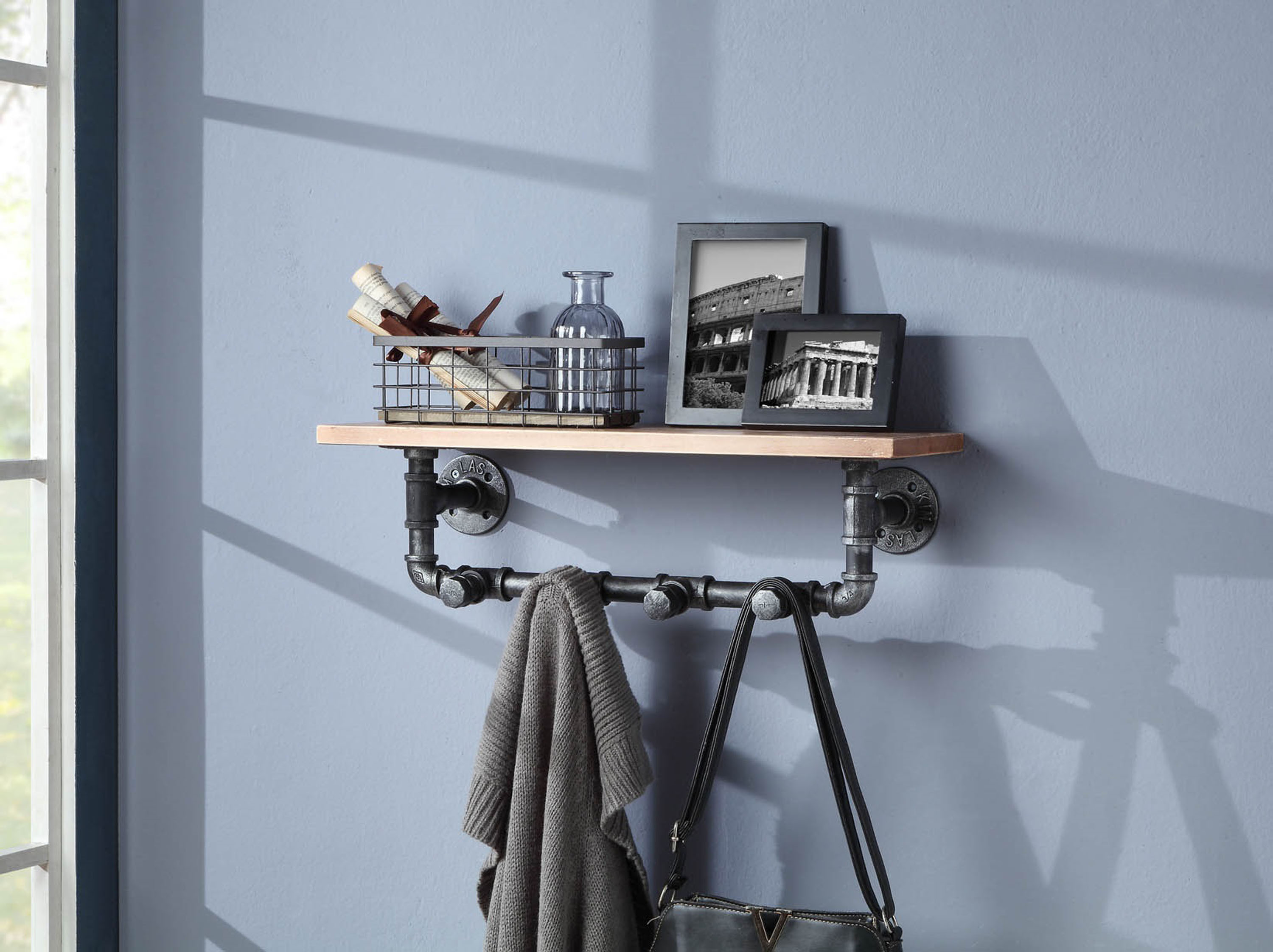 4D Concepts 624016 Allentown Shelf Piping with Clothes Hooks - Black Pipe with Brown Shelve