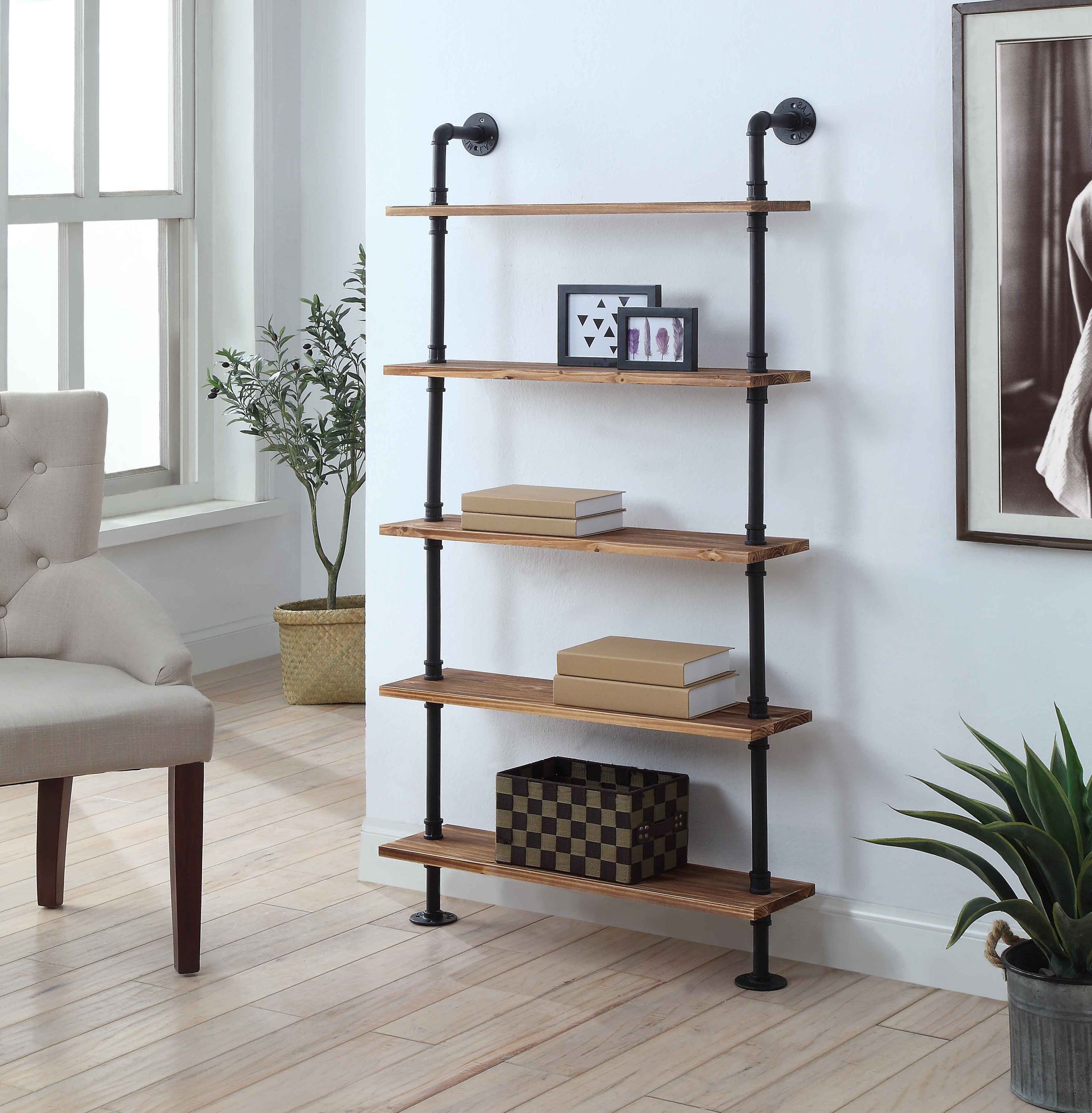 4D Concepts 621150 Anacortes Five Shelf Piping - Black Pipe with Brown Shelves