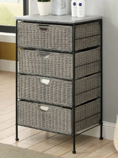 4D Concepts 266070 Grey Autumn Chest with Wood Top - Grey Wicker & Black Metal