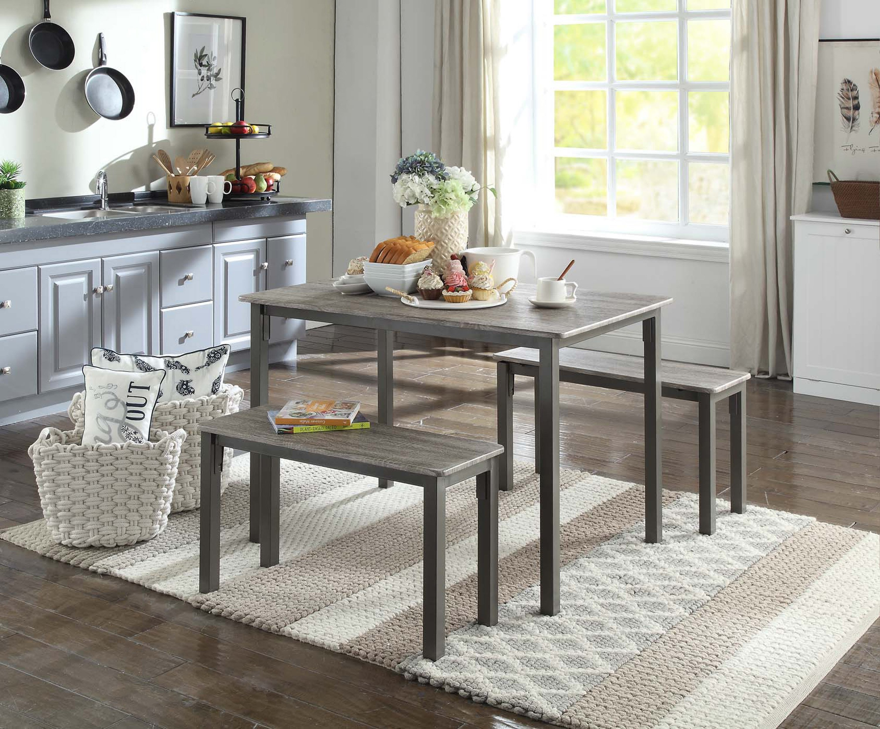 4D Concepts 159956 Tool less Boltzero Dining Table with 2 Benches, Washed Walnut & Grey Metal - 27.5 x 47.2 x 29.9 i