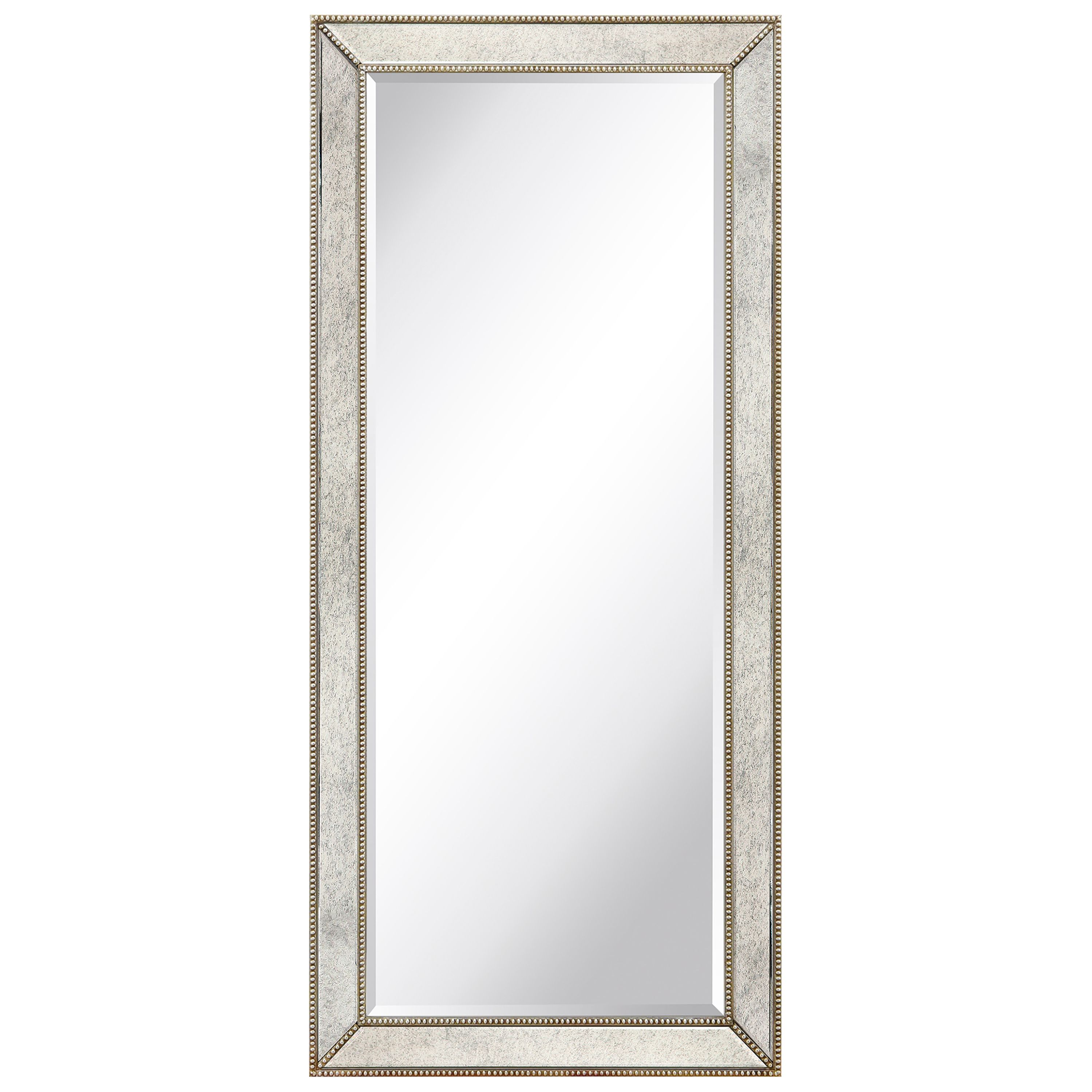 Empire Art Direct MOM-20210ANP-2454 24 x 54 in. Solid Wood Frame Covered Wall Mirror with Beveled Antique Mirror Panels