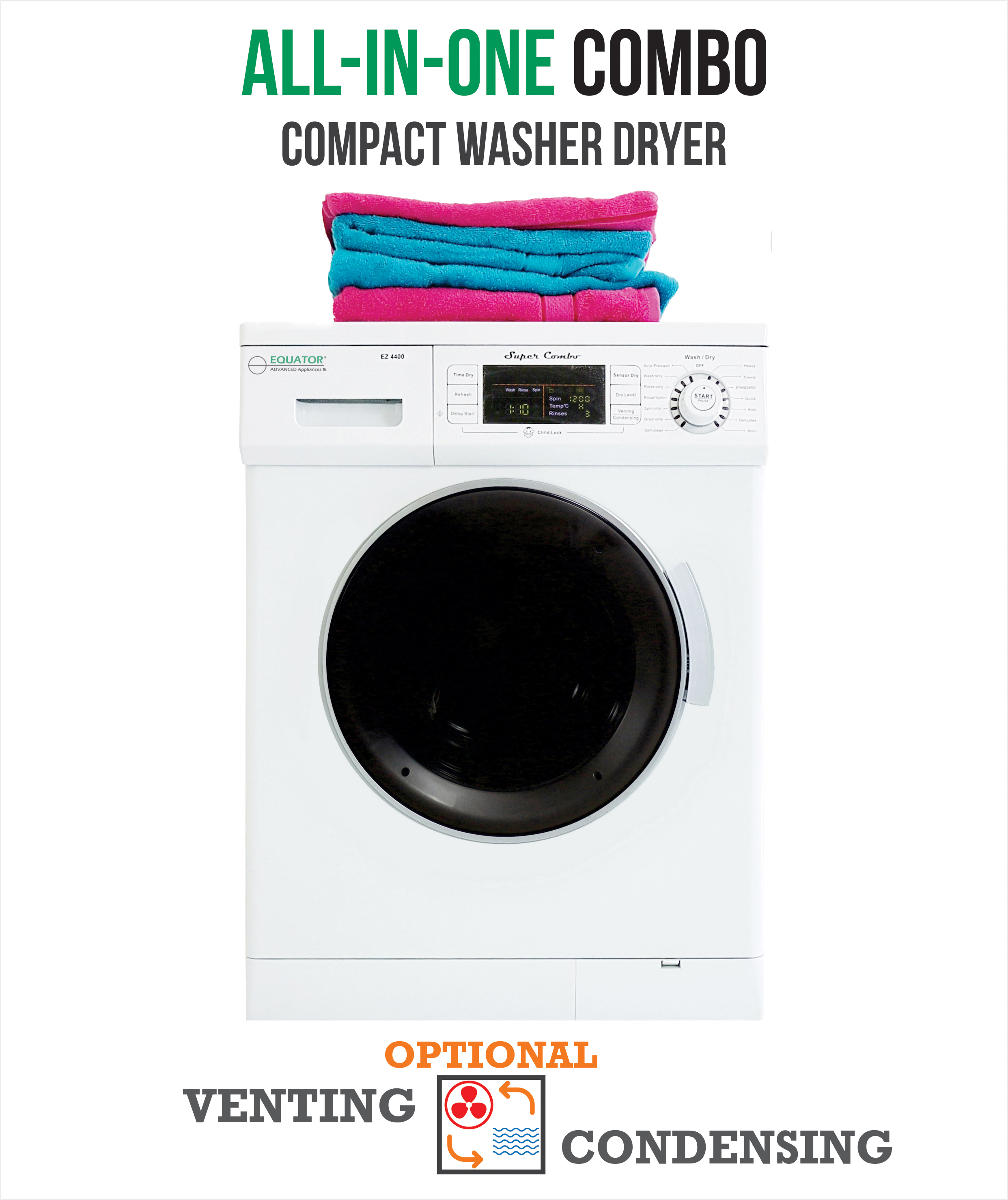 All-in-One 13 lb. 1200 RPM Compact Combo Washer Dryer with Optional Condensing/ Venting  Sensor Dry  Auto Water Level