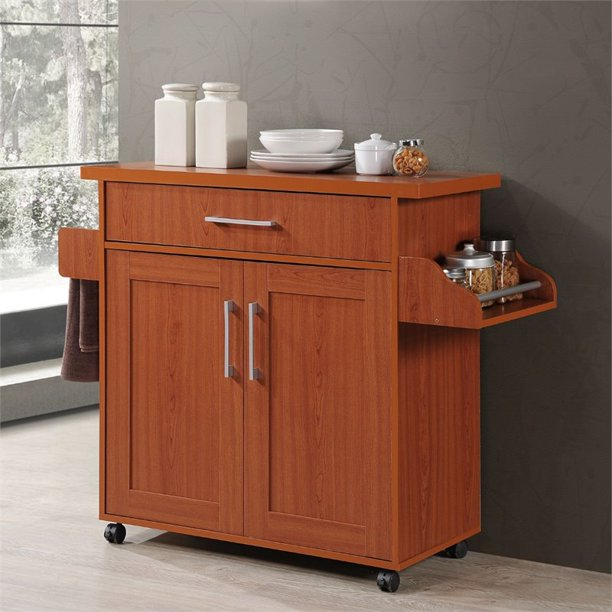 Hodedah HIK78 CHERRY Kitchen Island With Spice Rack & Towel Rack