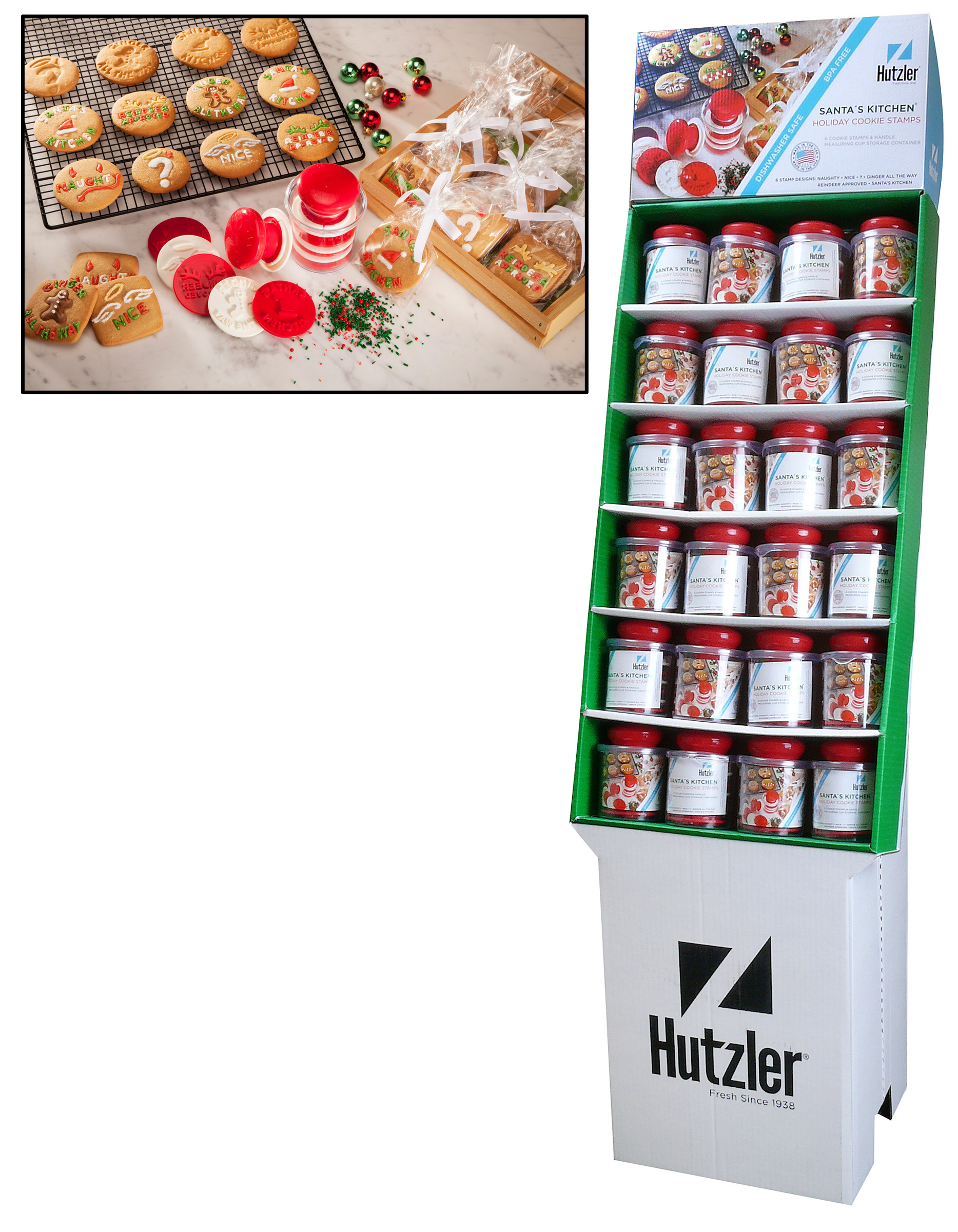 Hutzler 24-1906 Santa's Kitchen Holiday Cookie Stamps Floor Display (24 pack)