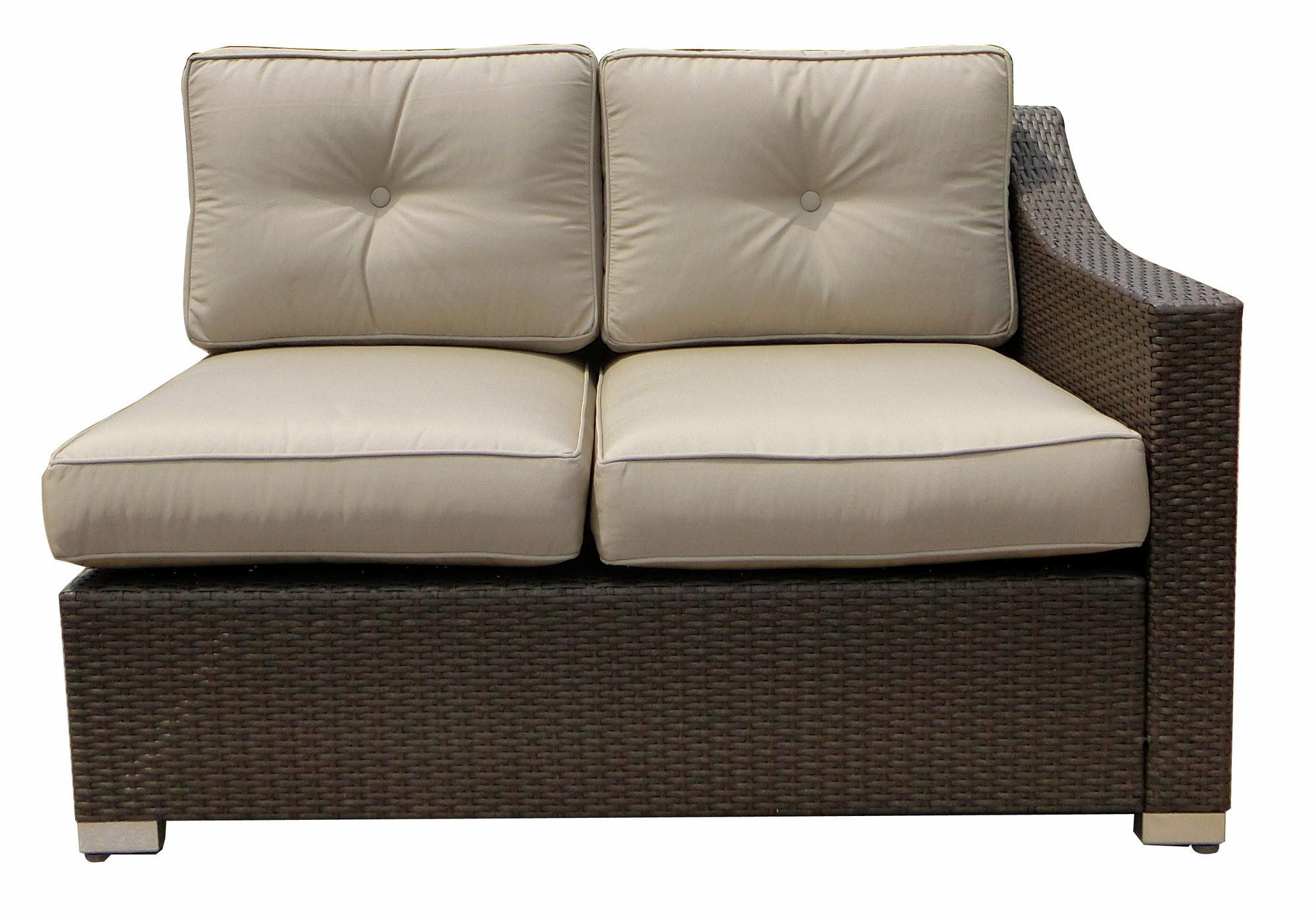 JJ Designs SB-3775-07 South Beach Wicker Patio Left Arm Sectional Loveseat