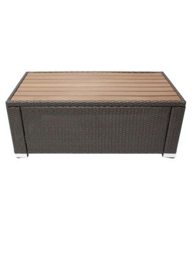 JJ Designs SB-3775-12 South Beach Wicker Patio Rectangle Coffee Table