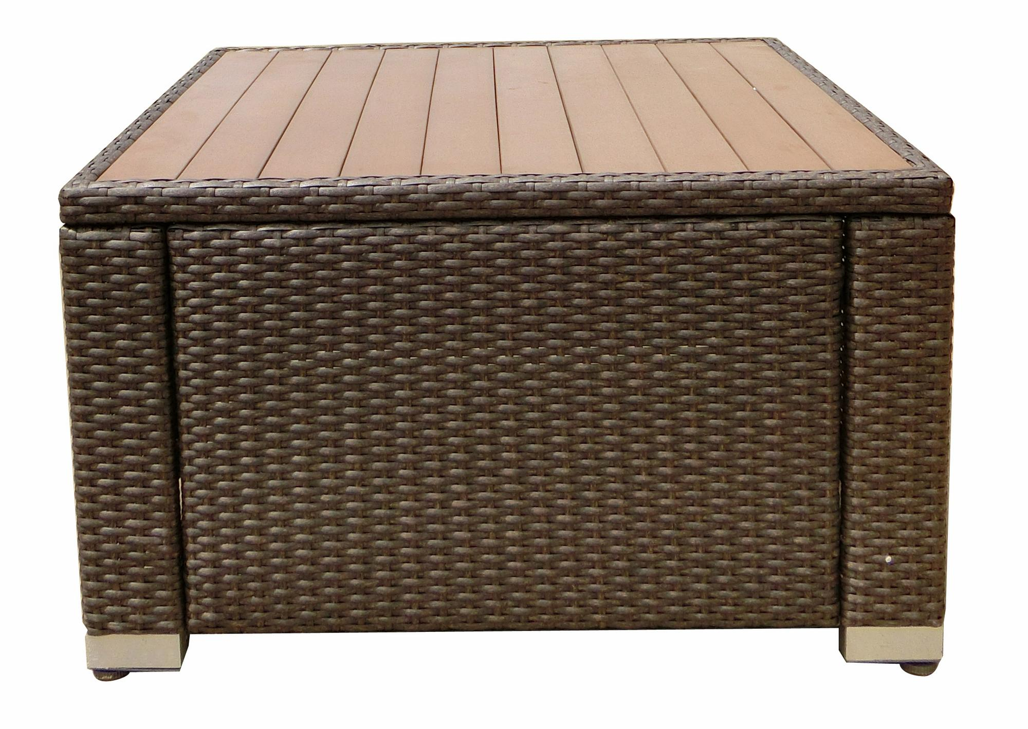JJ Designs SB-3775-13 South Beach Wicker Patio Square Coffee Table