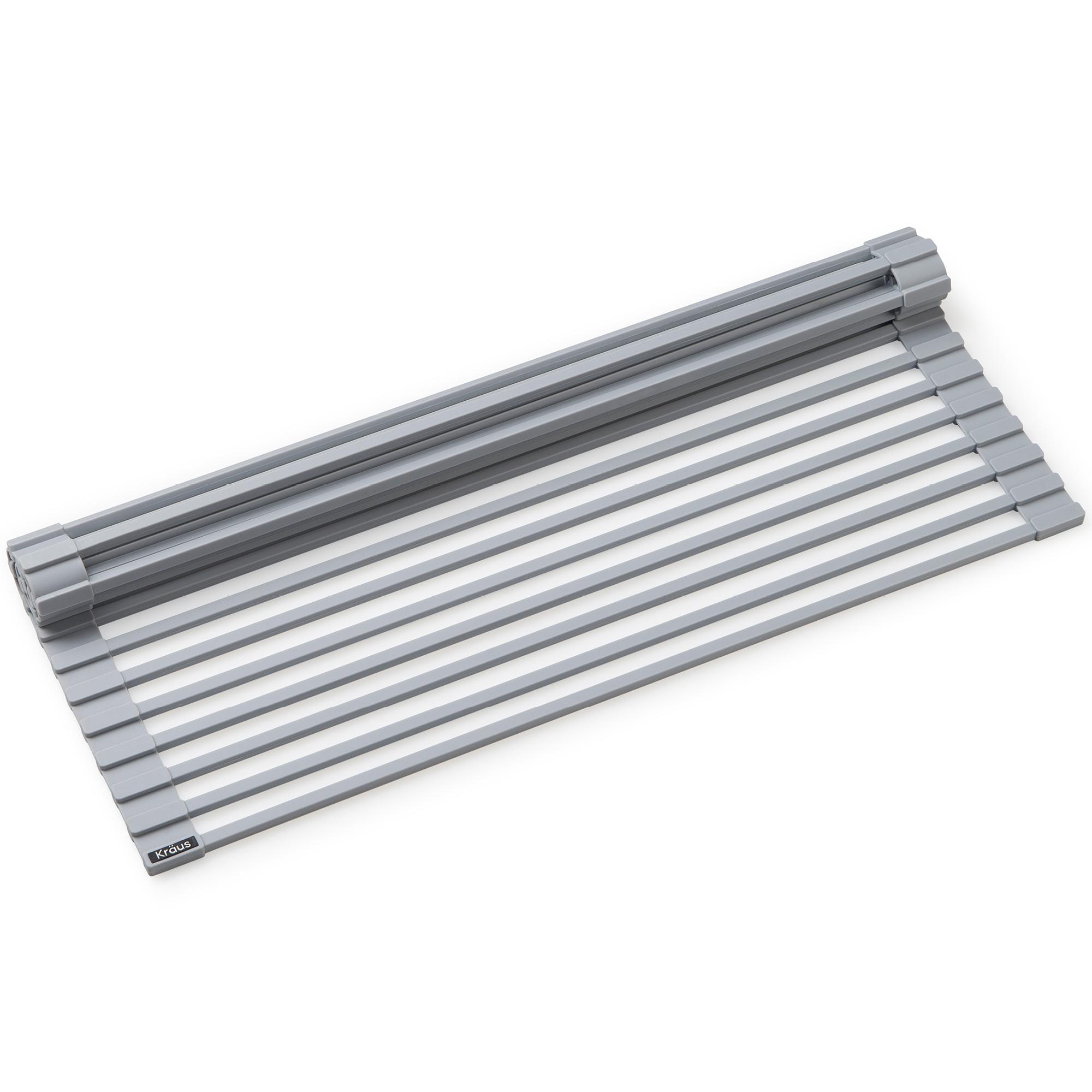 Kraus KRM-10GREY KRAUS Multipurpose Over Sink Roll-Up Dish Drying Rack in Grey