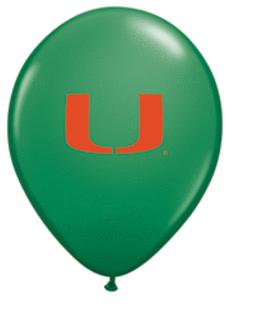 Qualatex 37681 10 Count 11 in. University of Miami Latex Balloon