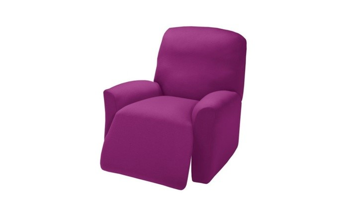 Madison JER-LGRECL-PU Stretch Jersey Large Recliner Slipcover, Purple