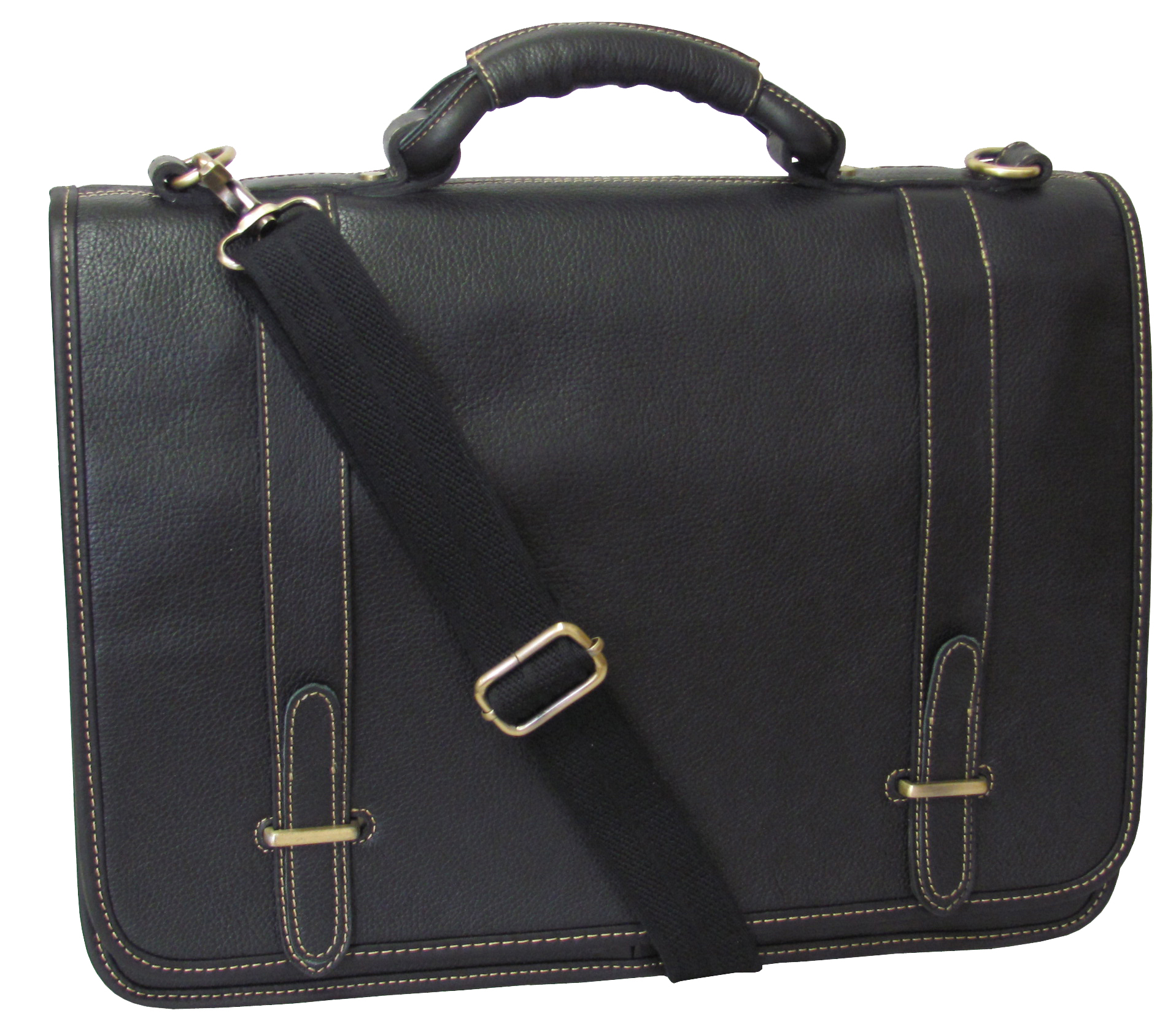 Amerileather 2760-0 Traditional Double Slip-in Executive Briefcase, Black