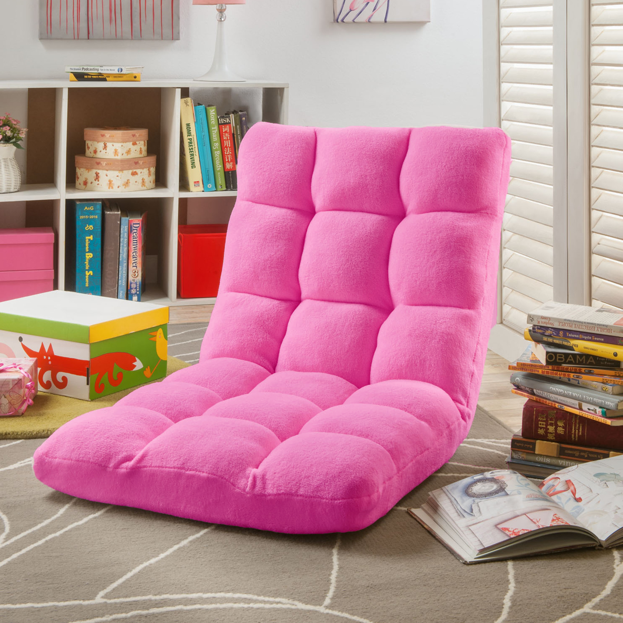 Microplush Modern Armless Quilted Recliner Chair with foam filling and steel tube frame - Pink