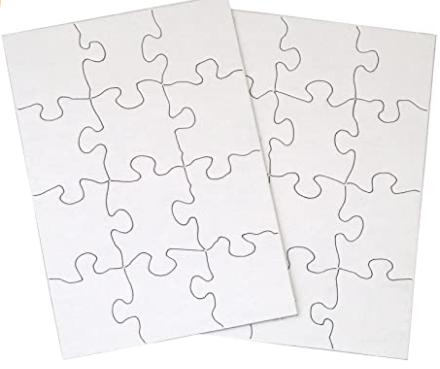 Inovart 2748 8 .5 x 11 in. Puzzle-It Blank Puzzles with Envelopes & 24 Puzzles Per Pack, White - 12 Piece