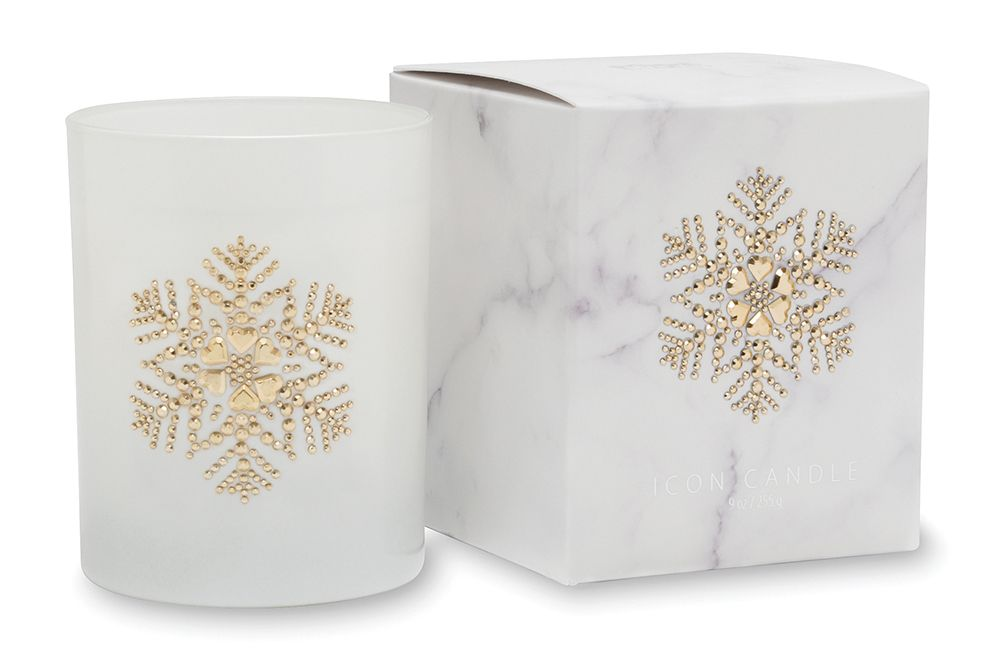 Primal Elements CIGSF Snowflake 9.5 oz. Icon Candle in Gold Glass