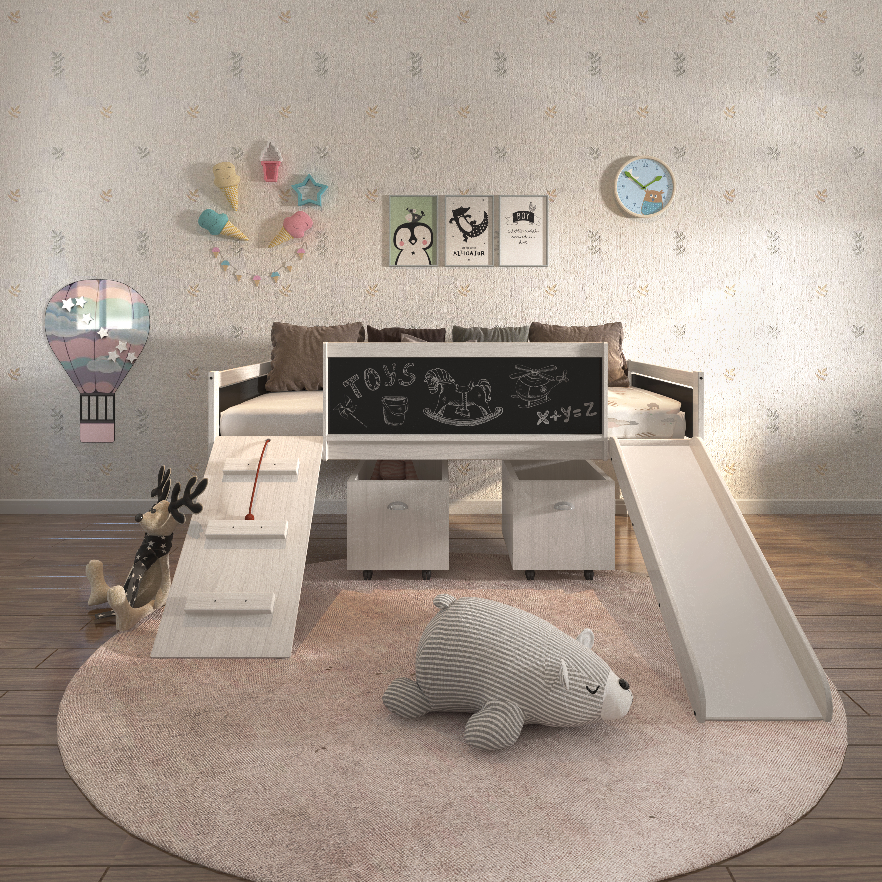 Donco Kids PD-3005TLWWDG-3005C Twin Low Loft with Toy Boxes, White Wash & Dark Grey