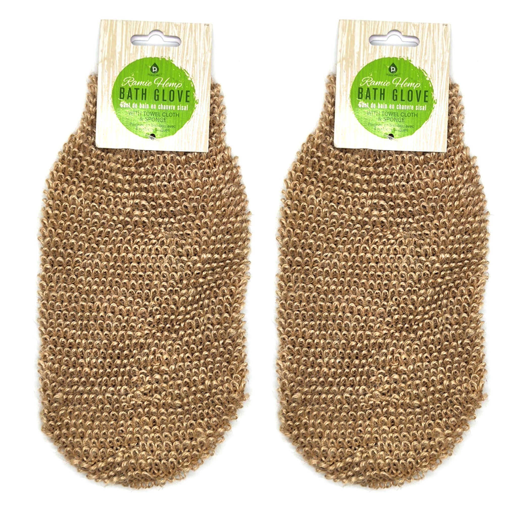 Pursonic BG36 Bath Glove with Towel Clothe & Sponge, Natural
