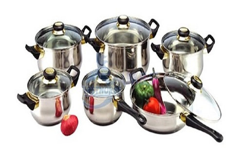 Starcrafts 1158 Stainless Steel Cookware Set, 12 Piece