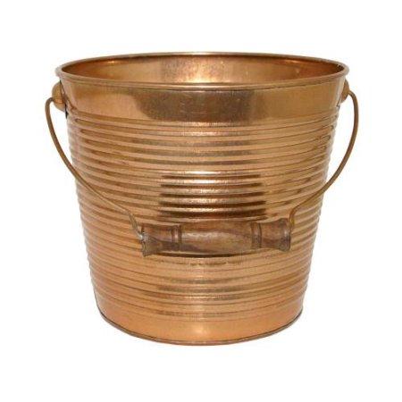 Robert Allen 212011 10 in. Planter, Ribbed Metal - New Copper