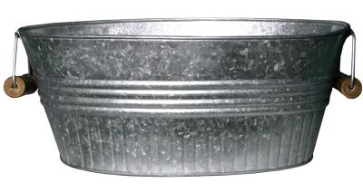 Robert Allen 212052 14 in. Galvanized Metal Basin Planter