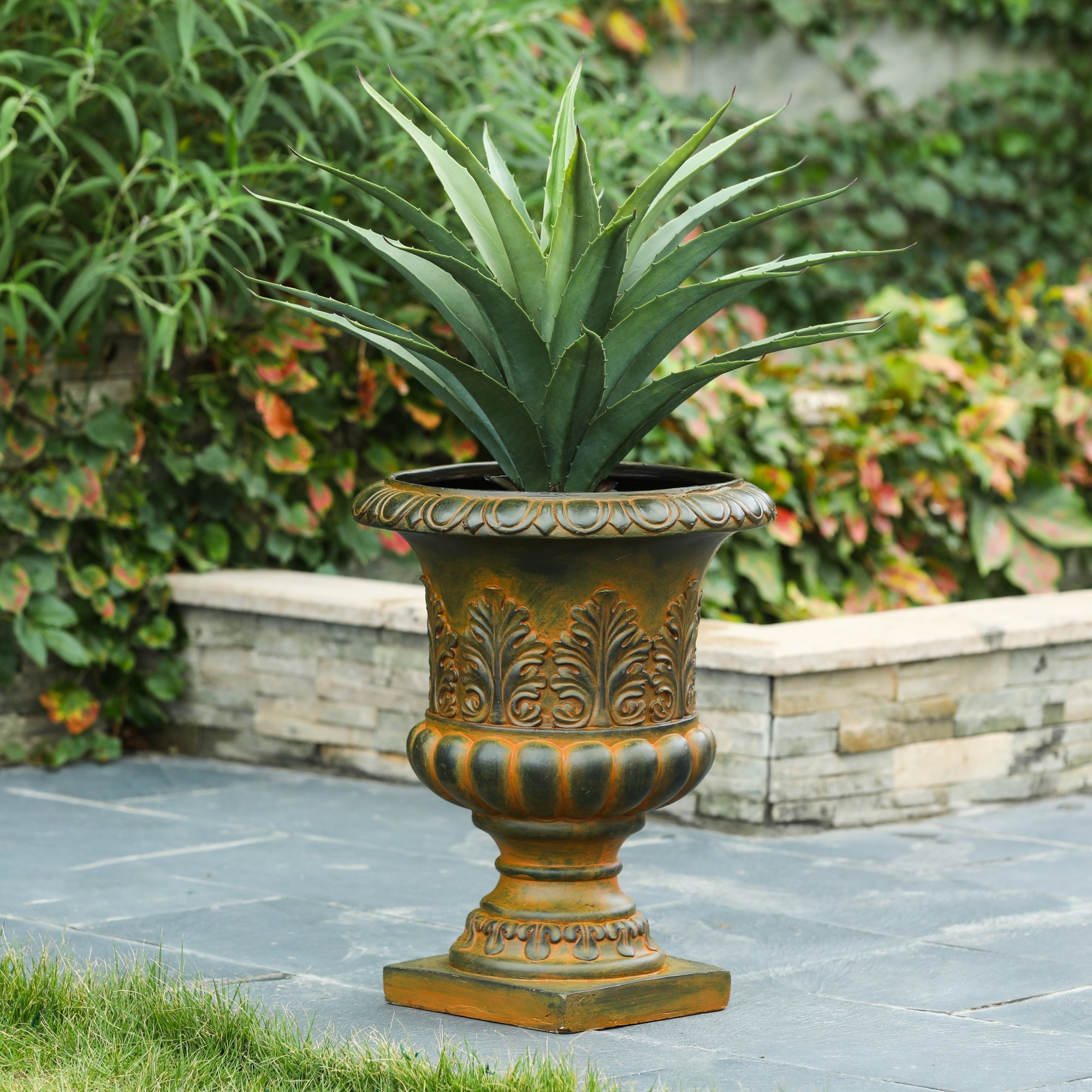Luxen Home Weathered Decorative MgO Urn Planter