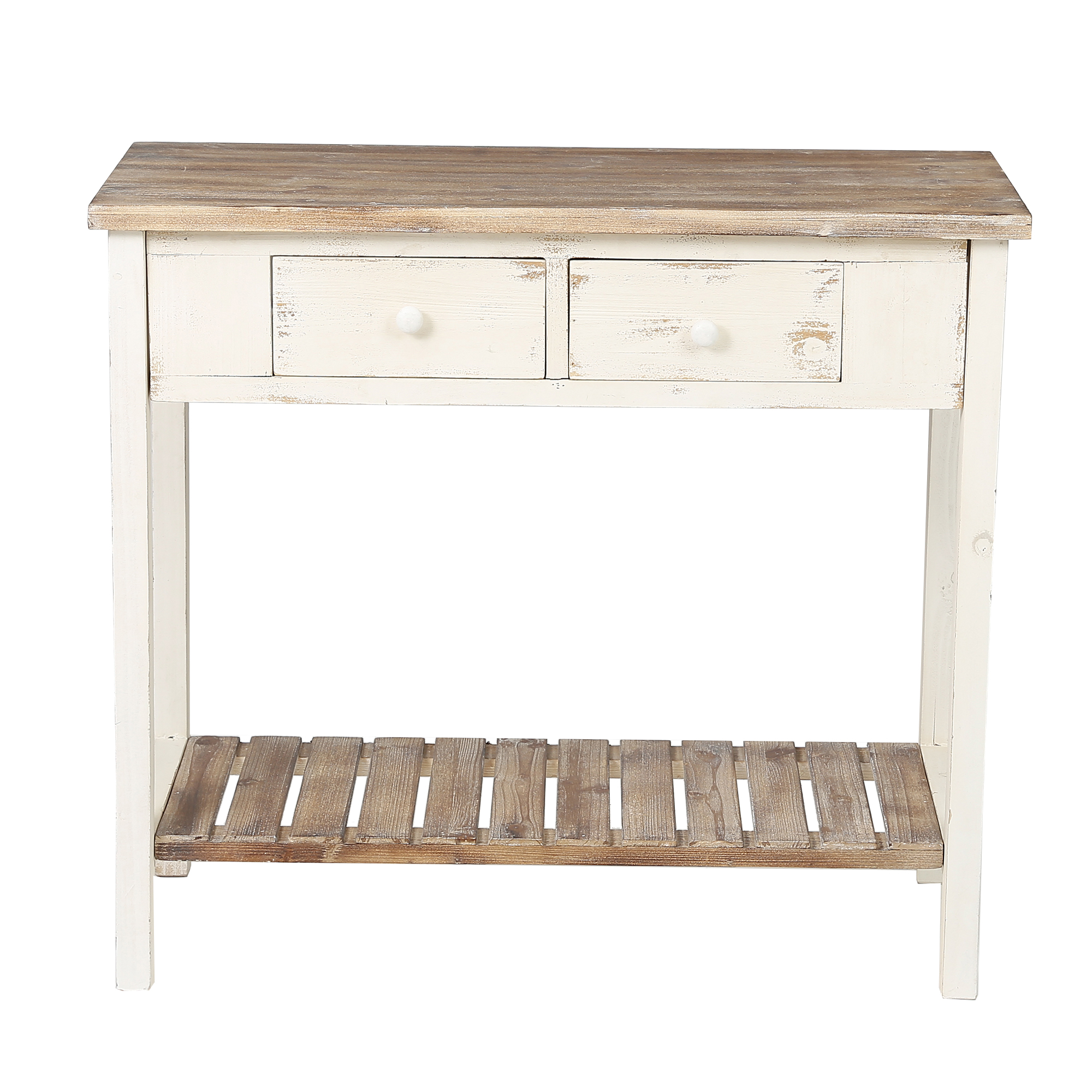 Luxen Home WH187 Vintage Two Drawer Console Table