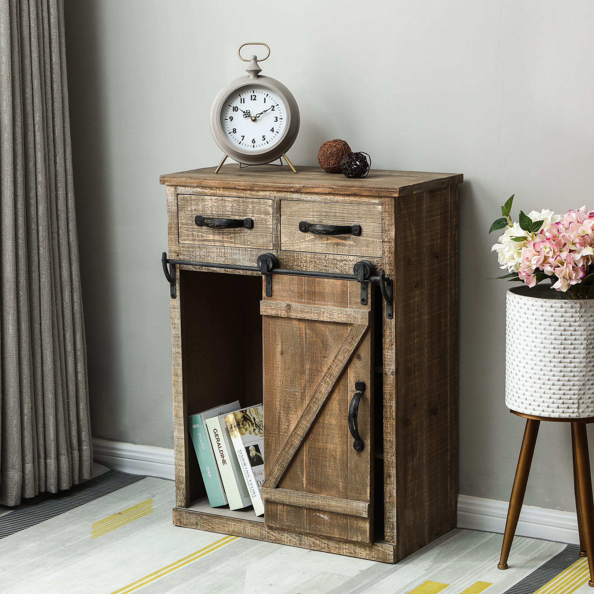 Luxen Home WH172 Rustic Wood Sliding Barn Door Console Cabinet