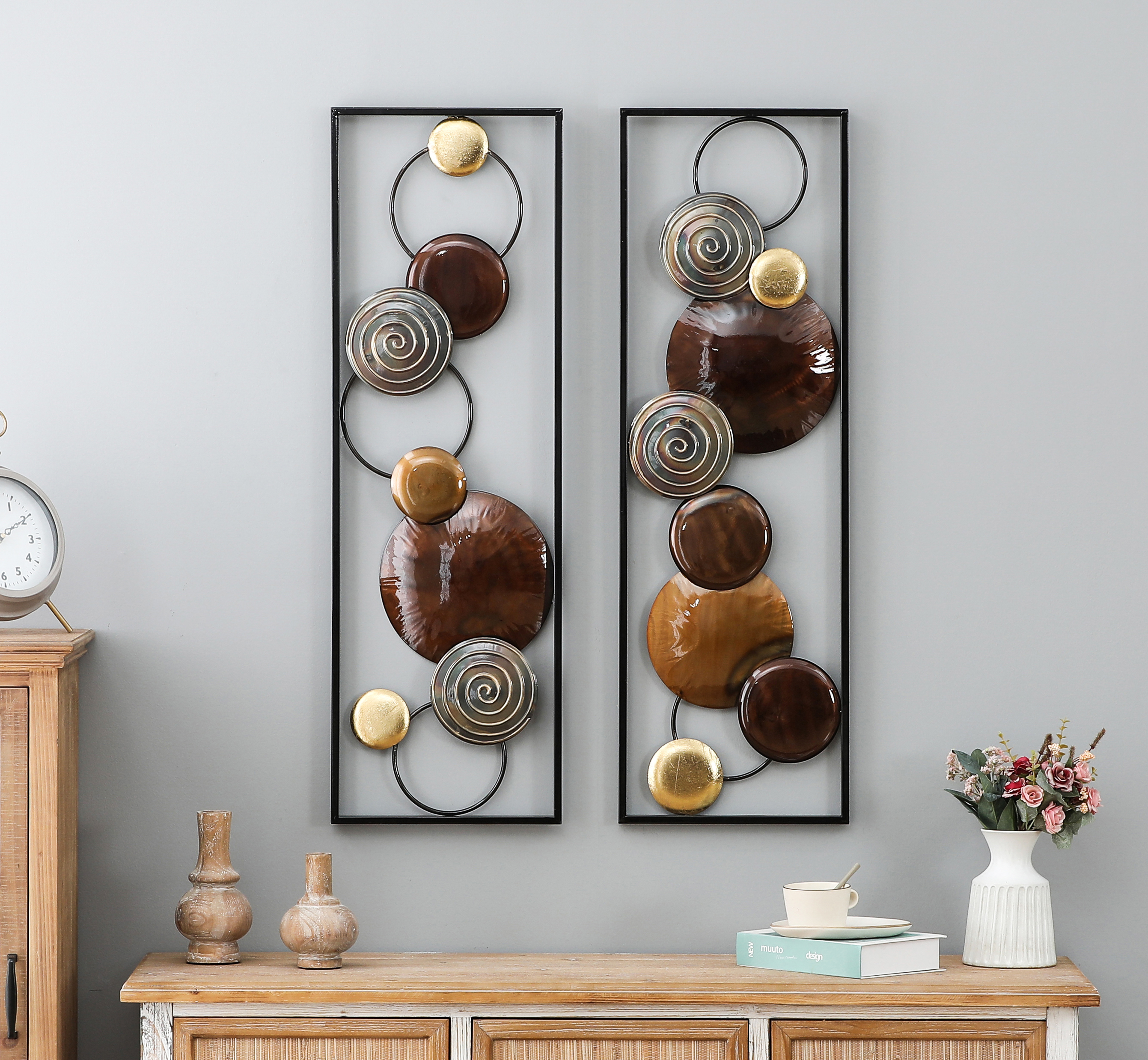 Luxen Home 2pc Abstract Metal Wall Panels