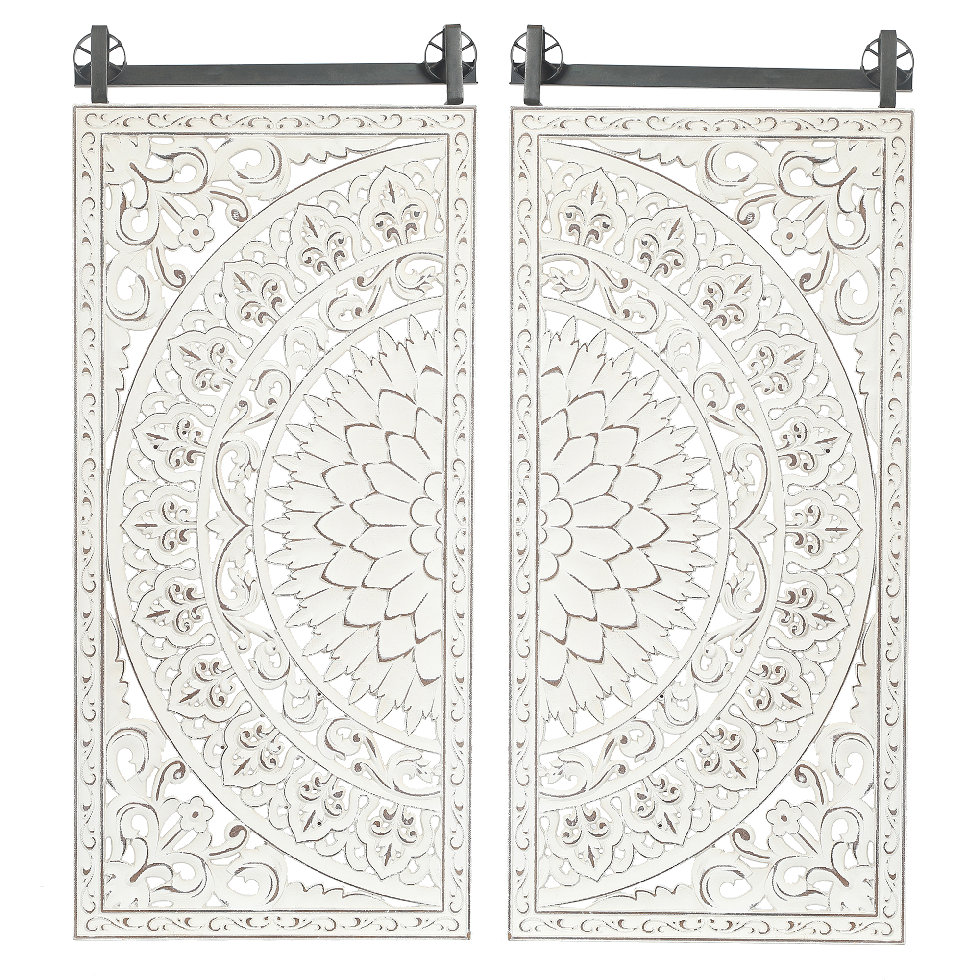Luxen Home WHA530 Decorative Carved Floral - Patterned MDF Wall Panel - Set of 2