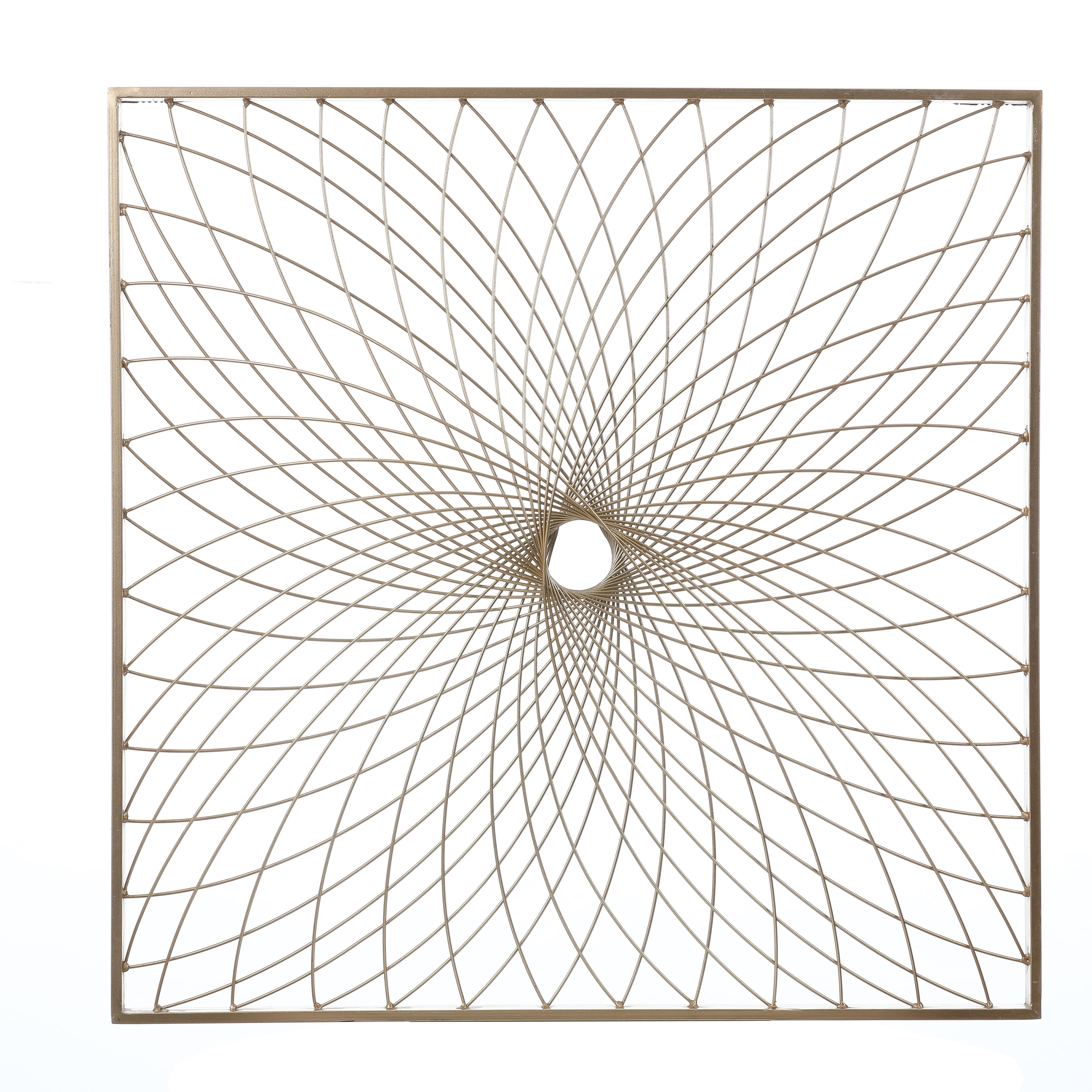 Luxen Home Starburst Square 24in. Metal Wall Decor in Gold Finish