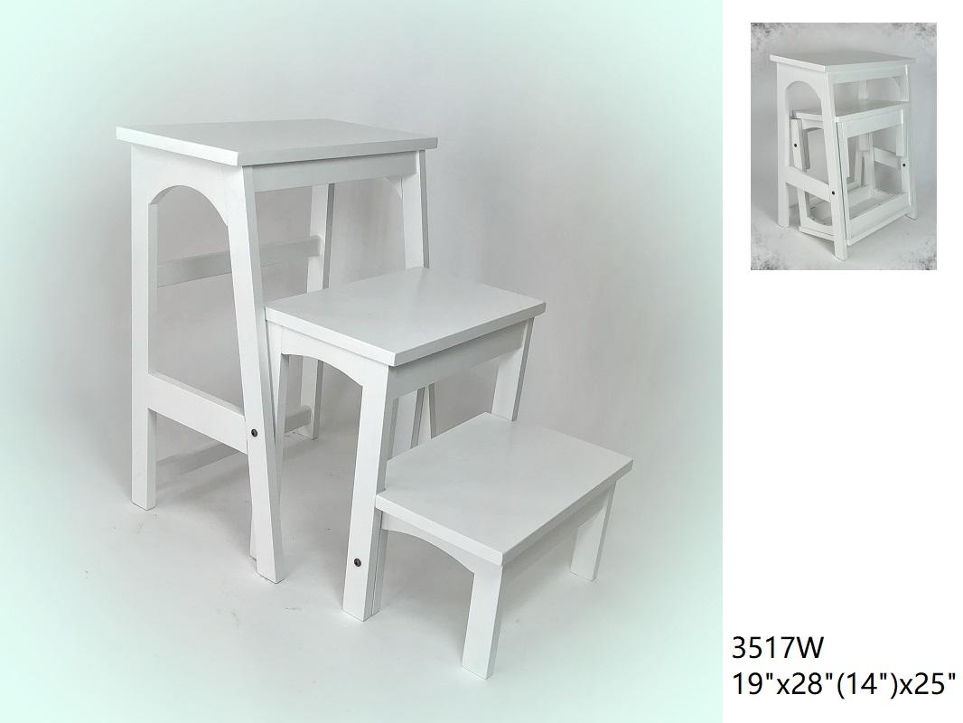 Wayborn 3517W 25 x 19 x 28 in. 3 Step Wood Step Stool - White