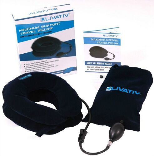 Livativ LVT-TRPLW1 6.4 oz Inflatable Travel Pillow with Hand Pump - Blue