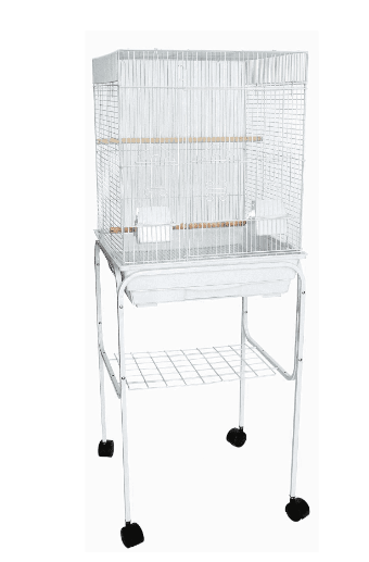 YML 5924-4814WHT 0.37 in. Bar Spacing Flat Top Bird Cage with Stand, White - 18 x 18 in. - Small