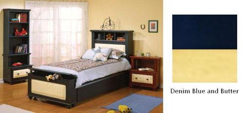 Alligator Enterprises 11037TTC2 Treasures Twin Bed in Denim Blue in Butter