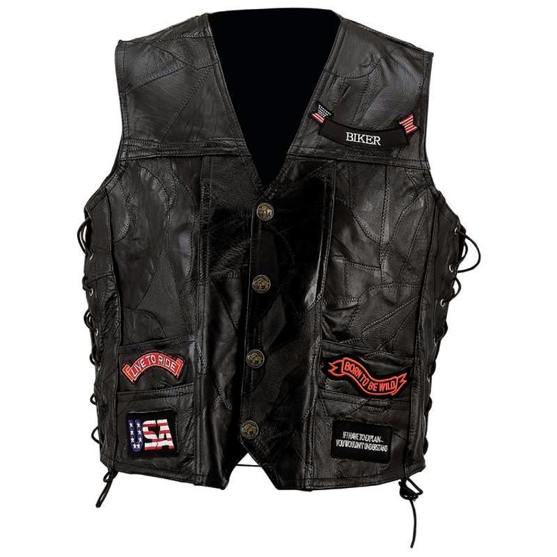 Diamond Plate GFVBIK142X Diamond Plate Rock Pattern Black Buffalo Leather Vest with Patches - Size 2X