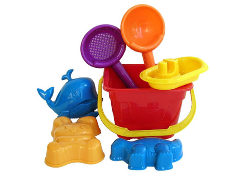 Sunshine Trading SB-44 Castle Bucket Sand Toy - 7 Piece Set