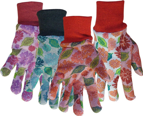 751 Ladies PVC Dotted Floral Palm Jersey Gloves - Assorted