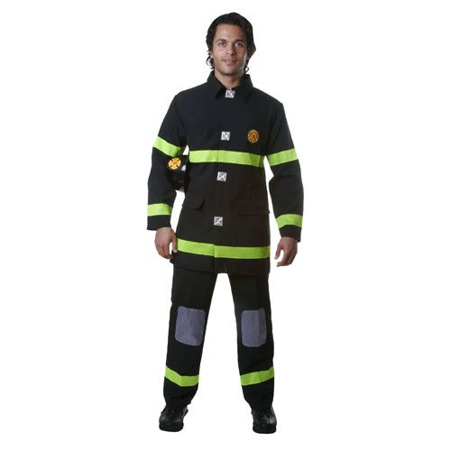 Dress Up America 340-XL Adult Fire Fighter Costume in Black - Size X Large