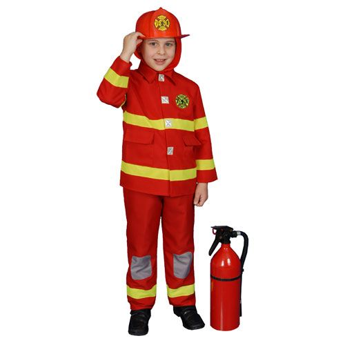 Dress Up America 367-S Boy Fire Fighter Costume in Red - Size Small 4-6