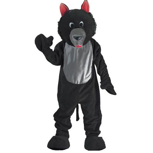 Dress Up America 389-Adult Black Wolf Mascot Costume - One Size Fits Most