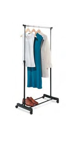 Honey-Can-Do GAR-01122 Adjustable Height Garment Rack - Chrome and Black