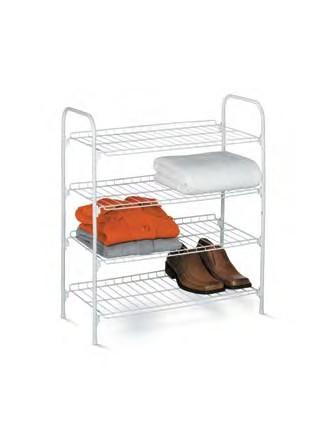 Honey-Can-Do SHO-01172 4 Tier Wire Shoe Rack and Accessory Shelf - Closet Shelves - White
