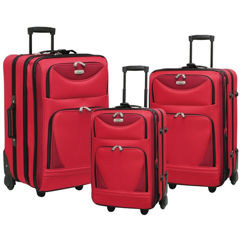 Travelers Club EVA-82003-600 Skyview II 3 Piece Luggage Set - Red