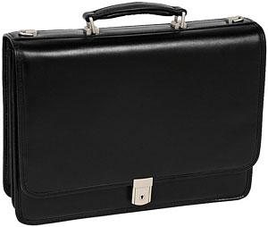 Mcklein USA 83545 Lexington V Series Leather Double Compartment Briefcase - Black