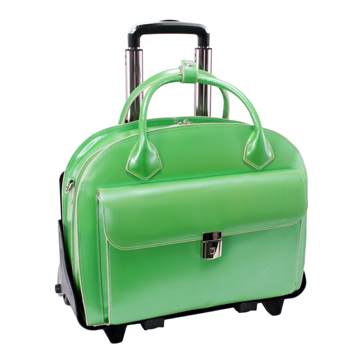 Mcklein USA 94361 Glen Ellyn W Series Leather Detachable-Wheeled Ladies Case with Removable Sleeve - Green
