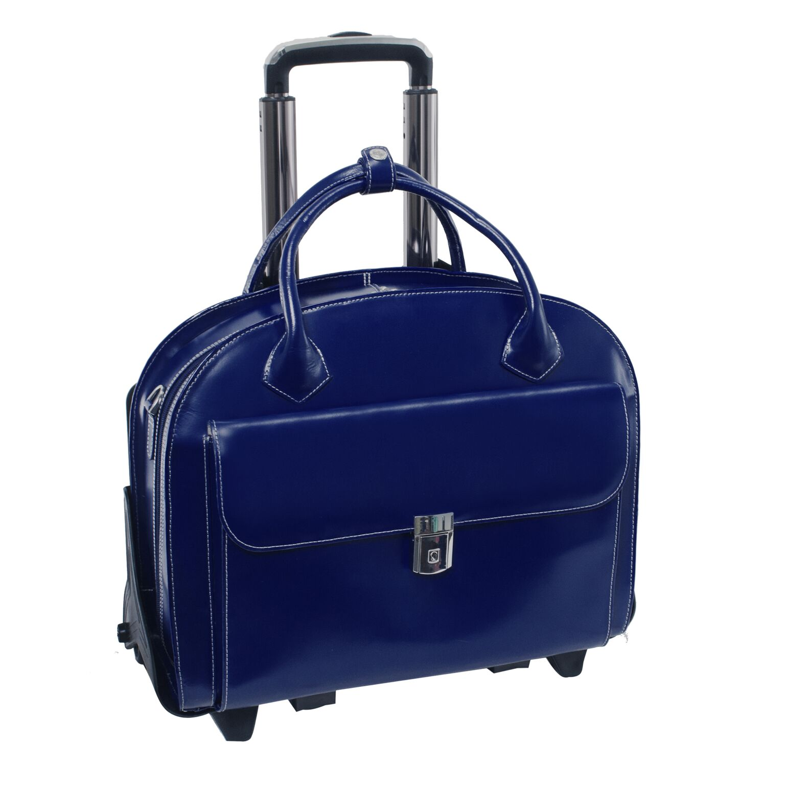 Mcklein USA 94367 Glen Ellyn W Series Leather Detachable-Wheeled Ladies Case with Removable Sleeve - Navy