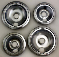Range Kleen 119204XN GE And Hotpoint Chrome Drip Pan -  Four Pack